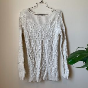 Ann Taylor Loft White Knitted Sweater sz M